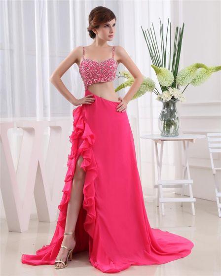 Spaghetti Straps Sleeveless Belt Floor Length Beading Chiffon Woman Prom Dress