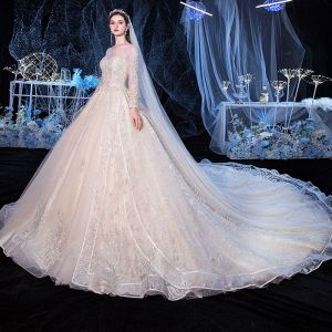 Best Champagne Bridal Wedding Dresses 2020 Ball Gown See-through Square Neckline Long Sleeve Backless Appliques Lace Beading Glitter Tulle Cathedral Train Ruffle