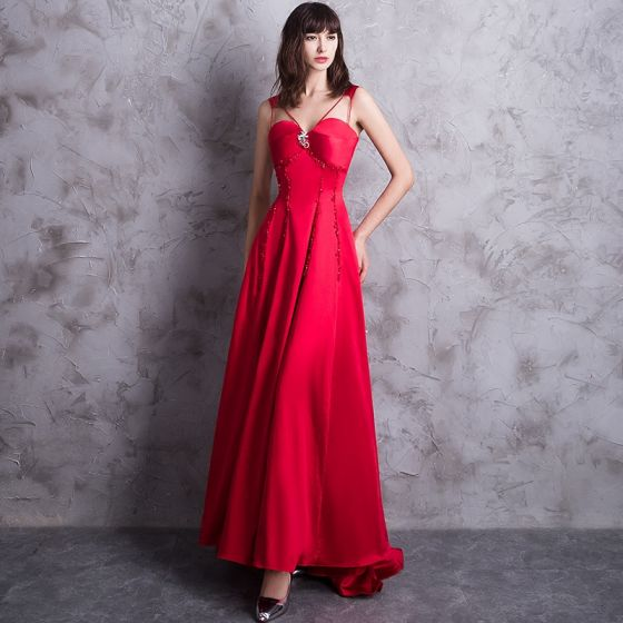 Modern / Fashion Red Evening Dresses  2018 A-Line / Princess Sweetheart Shoulders Sleeveless Beading Sweep Train Backless Formal Dresses