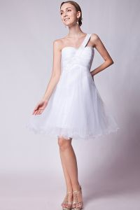 2015 Delicate Sleeveless White One Shoulder Sweetheart Cocktail Dress