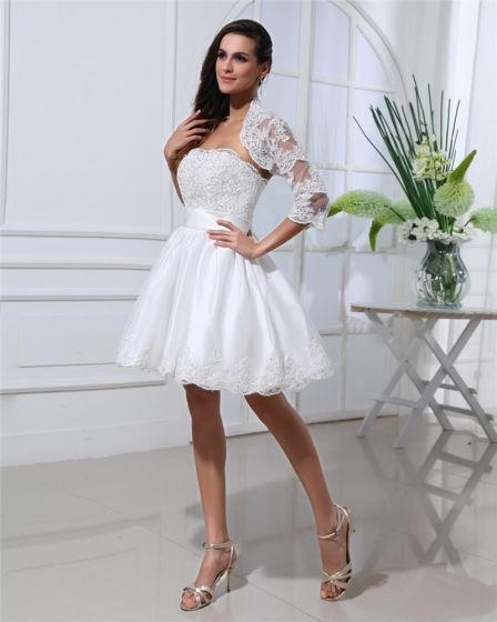 Thigh Length Strapless Flowers Bowknot Satin Lace Mini Wedding Dress