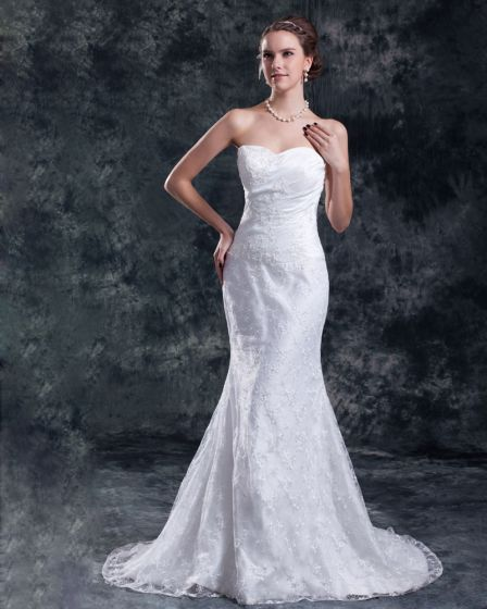 Lace Flower Sequins Sweetheart Court Train Sheath Wedding Dress