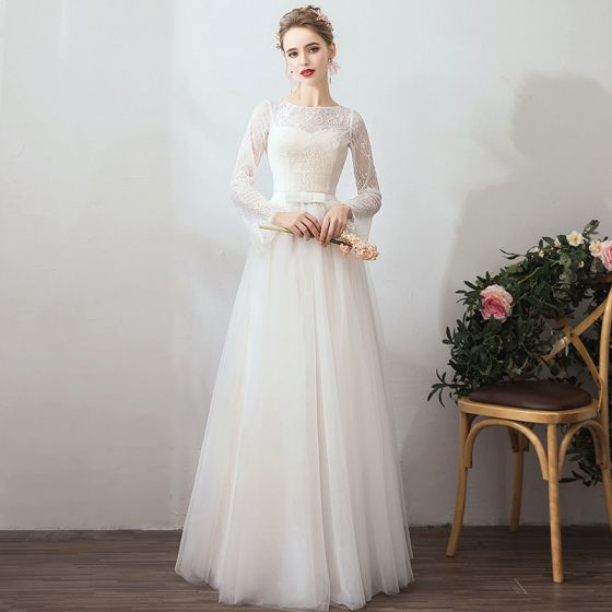 Amazing / Unique White Evening Dresses  2019 A-Line / Princess Lace Tulle U-Neck Long Sleeve Appliques Backless Red Carpet Holiday Summer Formal Dresses