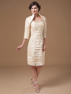 Taffeta Scoop Beads Ruffle Knee Length Mothers of Bride Guests Dresses