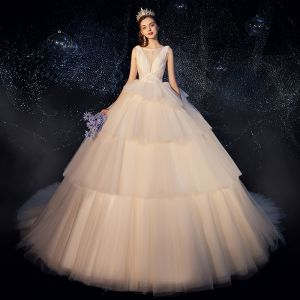 Fabulous Champagne Wedding Dresses 2019 Ball Gown Scoop Neck Beading Sleeveless Backless Cathedral Train