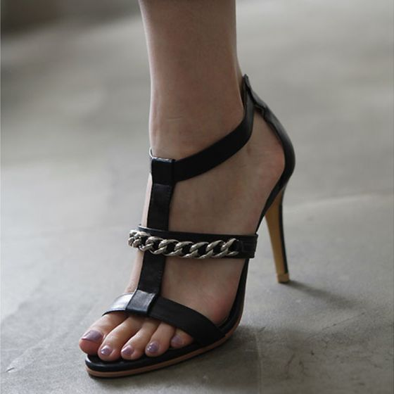 Enkla Svarta Läder Casual Sandaler Dam 2019 T-Rem 8 cm Stilettklackar Peep Toe Sandaler