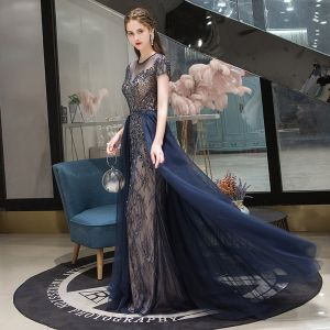 Chic / Beautiful Navy Blue Evening Dresses  2020 A-Line / Princess Scoop Neck Crystal Short Sleeve Backless Floor-Length / Long Formal Dresses