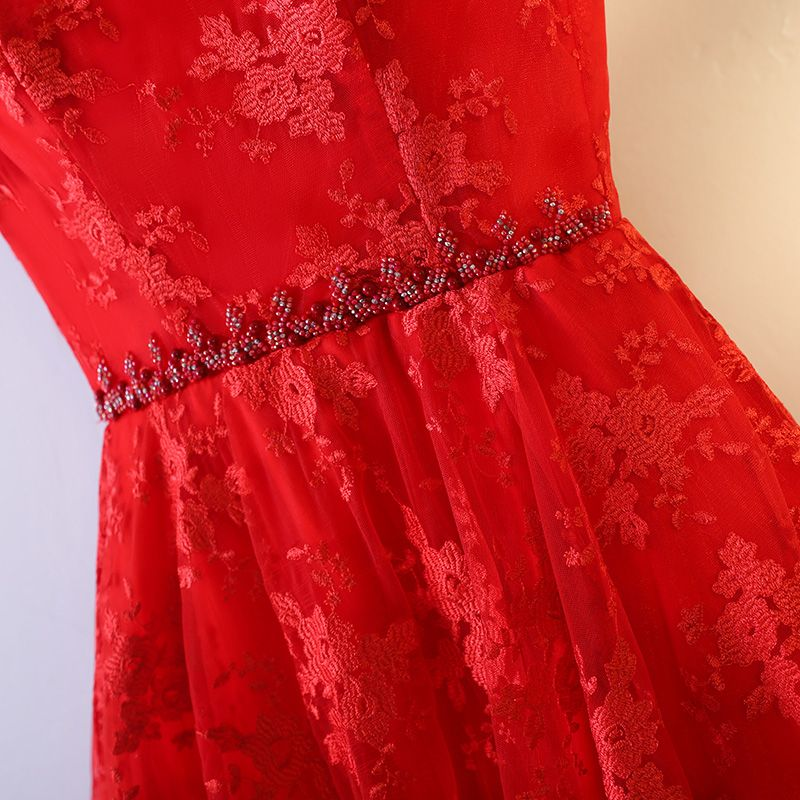 Chic / Beautiful Formal Dresses Prom Dresses 2017 Red Lace Rhinestone Ruffle Scoop Neck A-Line / Princess Short Sleeve