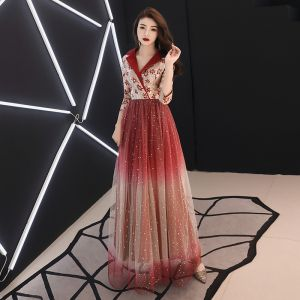 Charming Gradient-Color Burgundy Evening Dresses  2019 A-Line / Princess V-Neck Lace Star 3/4 Sleeve Floor-Length / Long Formal Dresses