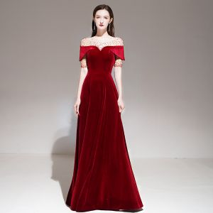 Fashion Red Velour Winter Evening Dresses  2020 A-Line / Princess See-through Square Neckline Short Sleeve Beading Floor-Length / Long Ruffle Backless Formal Dresses
