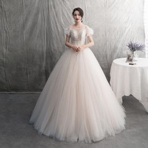 Modern / Fashion Champagne Wedding Dresses 2019 A-Line / Princess Pleated Scoop Neck Glitter Spotted Tulle Lace Flower Short Sleeve Backless Floor-Length / Long
