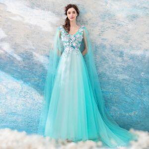 Hermoso Azul Vestidos de noche 2018 A-Line / Princess V-Cuello Sin Mangas Apliques mariposa Watteau Train Ruffle Sin Espalda Vestidos Formales