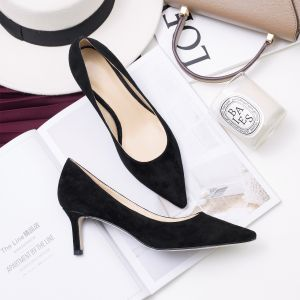 Modest / Simple Burgundy Office Pumps 2019 Leather Suede 6 cm Stiletto Heels Pointed Toe Pumps