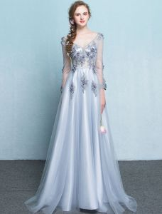 Beautiful Long Evening Dress 2017 With Sleeves Tulle Formal Dress With Sweep Train