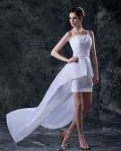 Taffeta Asymmetric Applique Strapless Short Bridal Gown Wedding Dress