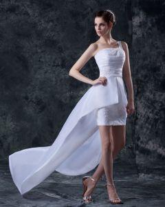 Taffeta Asymmetric Applique Strapless Short Bridal Gown Wedding Dress