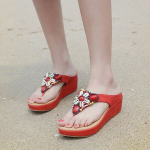 Bohemia Red Beach Slipper & Flip flops 2020 Crystal Rhinestone Platform Open / Peep Toe Flat Womens Shoes