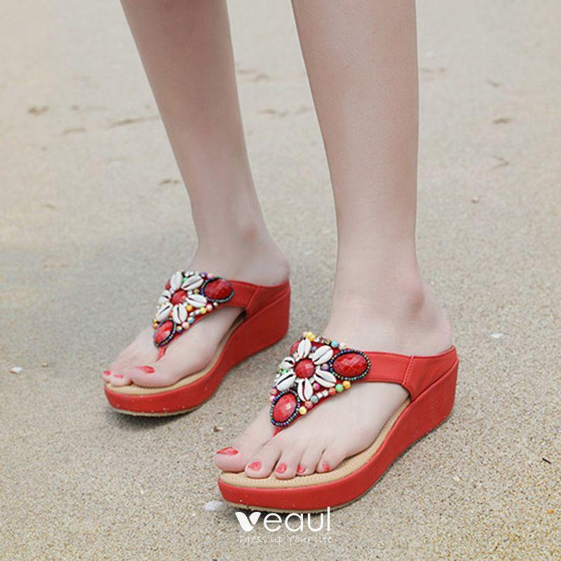 Bohemia Red Beach Slipper \u0026 Flip flops
