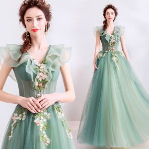 Elegant Sage Green Prom Dresses 2019 A-Line / Princess Ruffle V-Neck Lace Flower Appliques Sleeveless Backless Floor-Length / Long Formal Dresses