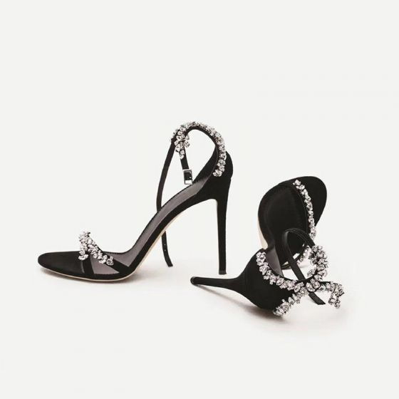 Charming Black Evening Party Rhinestone Womens Sandals 2020 Leather Ankle Strap 10 cm Stiletto Heels Open / Peep Toe Sandals