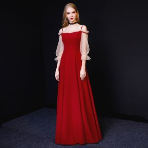 Chic / Beautiful Burgundy Evening Dresses  2019 A-Line / Princess Spaghetti Straps 3/4 Sleeve Backless Floor-Length / Long Formal Dresses