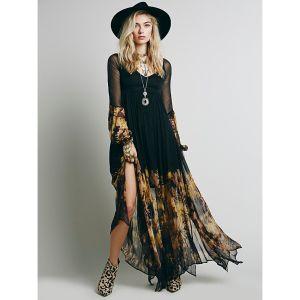Bohême Noire Été Désinvolte Robes longues 2018 Princesse Impression V-Cou Manches Longues Longueur Cheville Vêtements Femme
