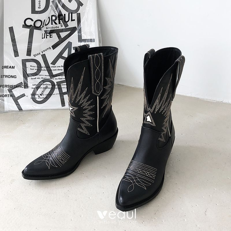 Mooie Prachtige Winter Zwarte Straatkleding Mid Kalf Dames Laarzen 2020 Leer 5 cm Dikke Hak Spitse Neus Laarzen