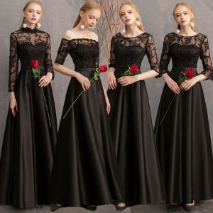 Affordable Black Satin See-through Bridesmaid Dresses 2019 A-Line / Princess Appliques Lace Floor-Length / Long Ruffle Backless Wedding Party Dresses