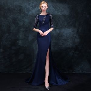 Elegant Navy Blue Evening Dresses  2018 Trumpet / Mermaid Scoop Neck 1/2 Sleeves Beading Rhinestone Split Front Sweep Train Ruffle Formal Dresses