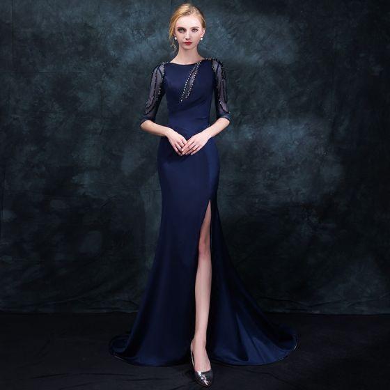 Elegant Navy Blue Evening Dresses  2018 Trumpet / Mermaid Scoop Neck 1/2 Sleeves Beading Rhinestone Split Front Sweep Train Ruffle Formal Dresses