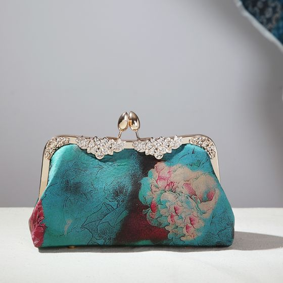 Vintage / Retro Chinese style Green Square Clutch Bags 2020 Metal Rhinestone Printing Flower Polyester