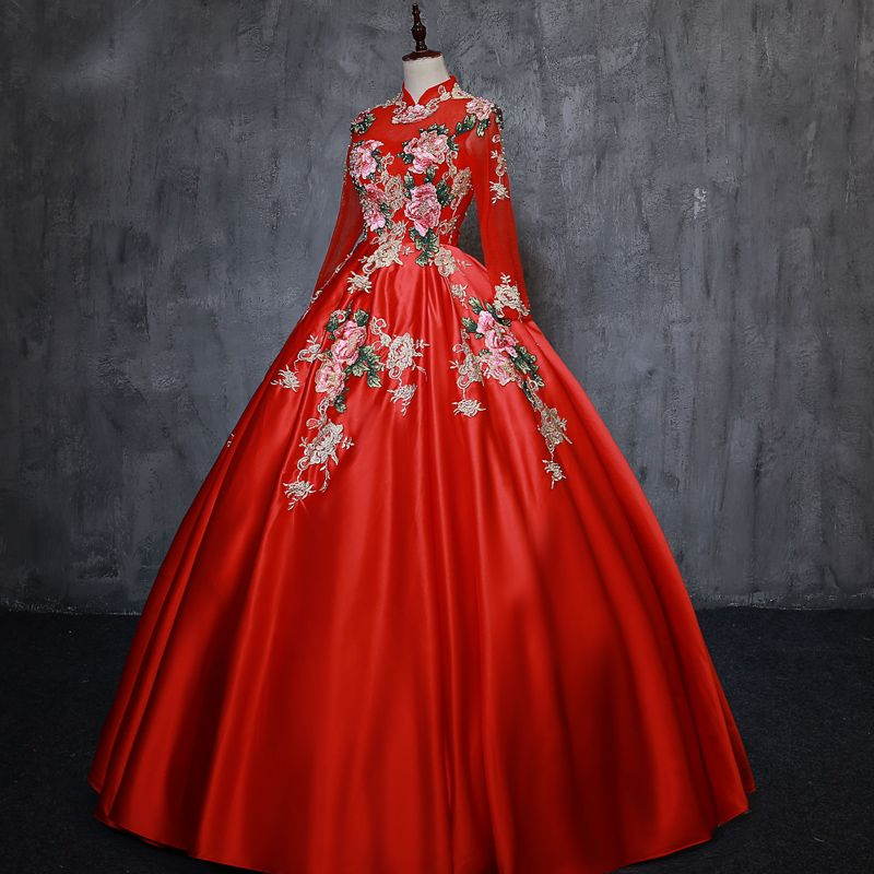 Chinese style Red Prom Dresses 2019 A-Line / Princess High Neck Appliques Lace Pearl 3/4 Sleeve Backless Floor-Length / Long Formal Dresses