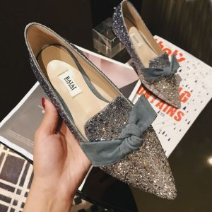 Sparkly Silver Casual Womens Shoes 2018 Leather Sequins Bow Pointed Toe Flat