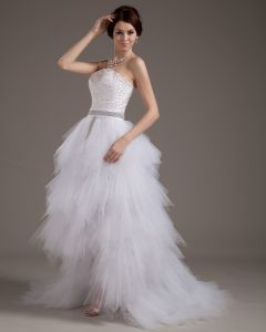 Yarn Strapless Ruffles Short Bridal Gown Wedding Dresses