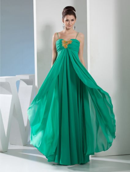 2015 Appealing Sweetheart Spaghetti Straps Beading Crystal Pleated Evening Dress