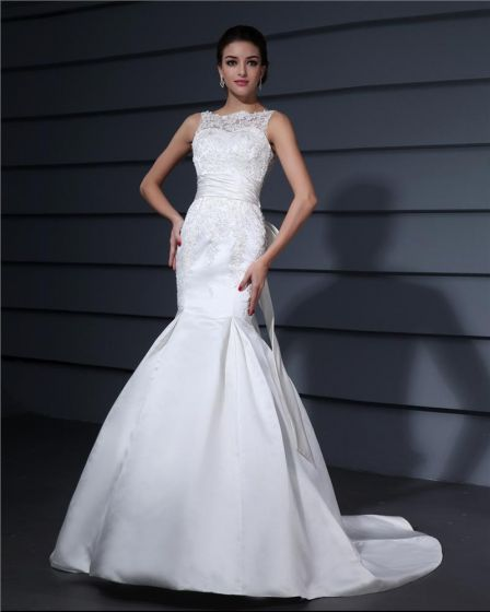 Bateau Applique Pleated Bowknot Floor Length Lace Woman Mermaid Wedding Dress