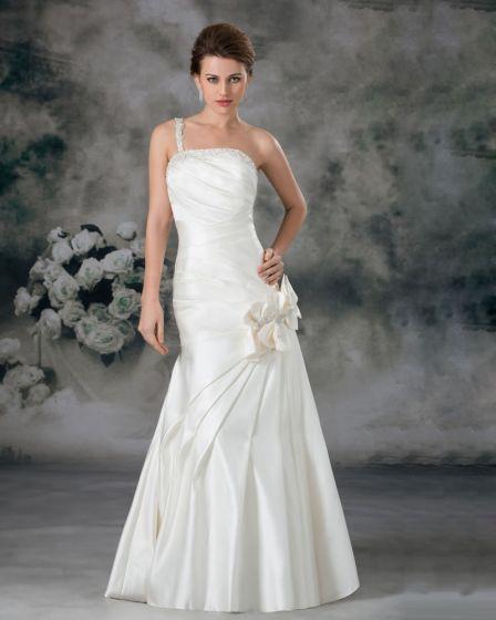 Satin Sequins Ruffle Flower One Shoulder Floor Length Sheath Wedding Dress
