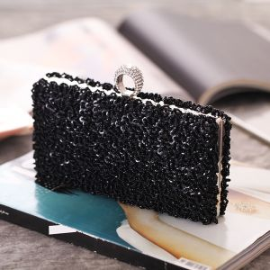Luxury / Gorgeous Black Pearl Beading Sequins Rhinestone Metal Clutch Bags 2018