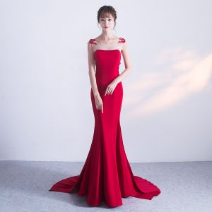 Chic / Beautiful Burgundy Evening Dresses  2018 Trumpet / Mermaid Lace Appliques Bow Scoop Neck Sleeveless Sweep Train Formal Dresses