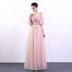 Chic / Beautiful Pearl Pink Prom Dresses 2019 A-Line / Princess Spaghetti Straps Appliques Lace Beading Crystal Rhinestone Short Sleeve Backless Floor-Length / Long Formal Dresses
