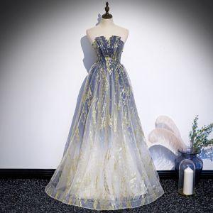 Best Royal Blue Gradient-Color White Dancing Prom Dresses 2020 A-Line / Princess Strapless Sleeveless Beading Glitter Tulle Floor-Length / Long Backless Formal Dresses