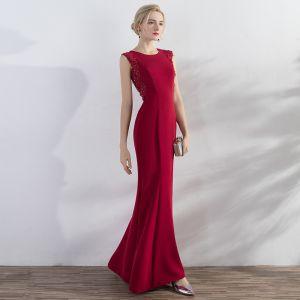 Schöne Rot Abendkleider 2017 Mermaid Applikationen Pailletten Rundhalsausschnitt Reißverschluss Ärmellos Knöchellänge Abend