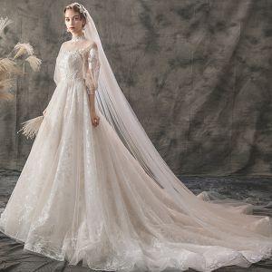 Elegant Ivory Brudekjoler 2019 Prinsesse Høj Hals Med Blonder Blomsten 3/4 De Las Mangas Halterneck Chapel Train