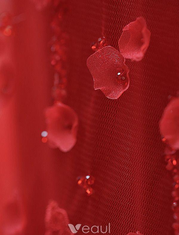Meerjungfrau Abendkleider Lang 2016 Applique Blumen Rotem Tüll Rückenfreies Festliche Kleider Mit Ärmeln