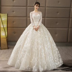 Affordable Champagne Pierced Wedding Dresses 2018 Ball Gown Scoop Neck Long Sleeve Backless Appliques Lace Ruffle Floor-Length / Long