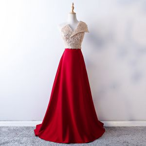 Elegant Burgundy Prom Dresses 2019 A-Line / Princess One-Shoulder Backless Sequins Tassel Sleeveless Sweep Train Formal Dresses