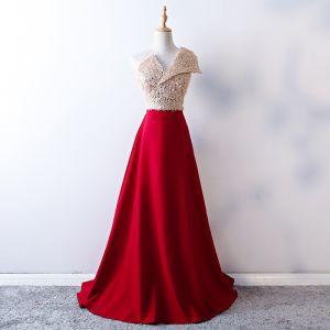 Elegant Burgundy Prom Dresses 2019 A-Line / Princess One-Shoulder Backless Sequins Tassel Sleeveless Sweep Train Formal Dresses