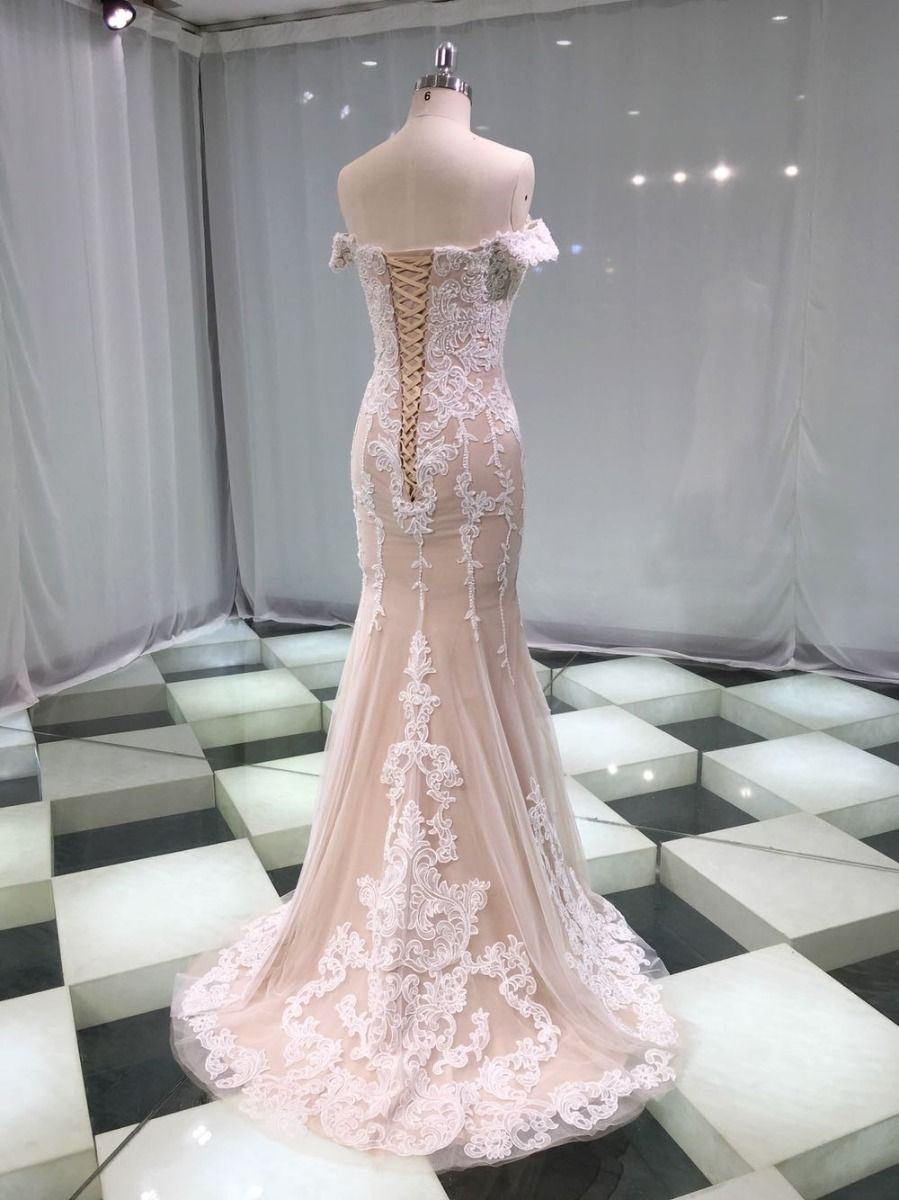Luxury / Gorgeous Champagne Wedding Dresses 2019 Trumpet / Mermaid Sweetheart Off-The-Shoulder Short Sleeve Backless Appliques Lace Beading Pearl Detachable Cathedral Train