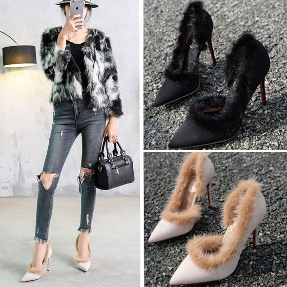 Modern / Fashion Fall Black Feather Womens Shoes 2019 Casual Suede 10 cm Stiletto Heels Pointed Toe High Heels