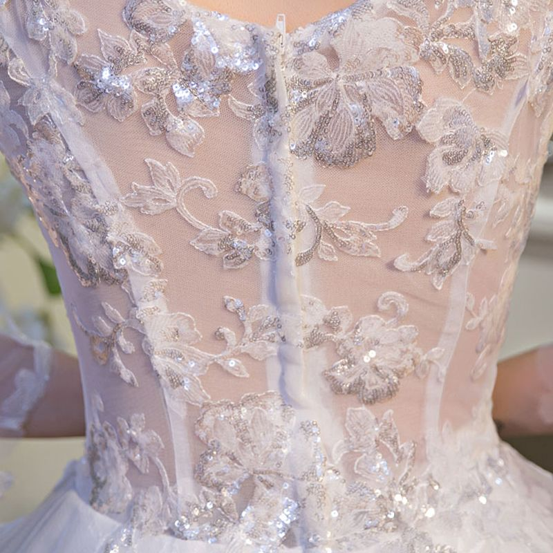Amazing / Unique White Wedding Dresses 2017 A-Line / Princess V-Neck Lace Backless Beading Sequins Wedding